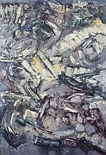 J. S. Cartier (American, b.1932) Abstract in purple, yellow, white and grey