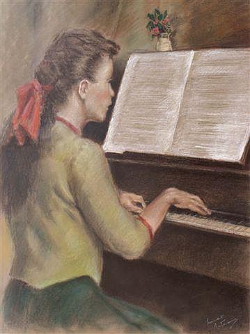 FRANCO MATANIA (1922-2006) - A young girl playing