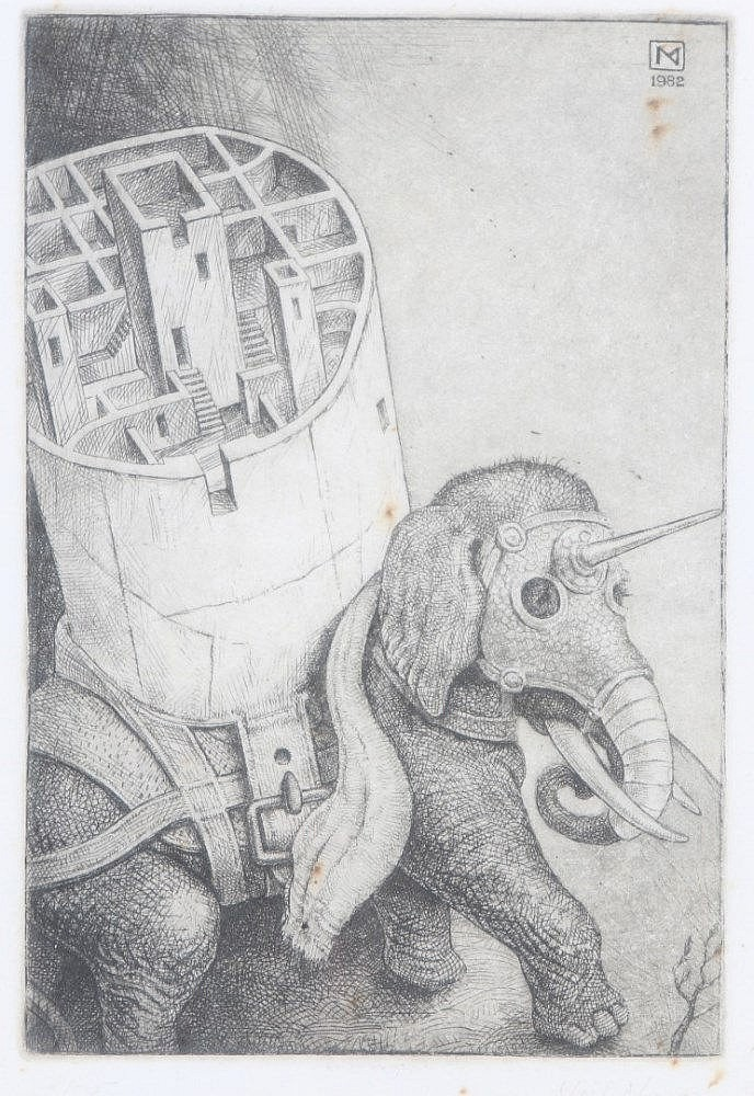 NEIL MOORE (b. 1959) Elephant with tower, etching