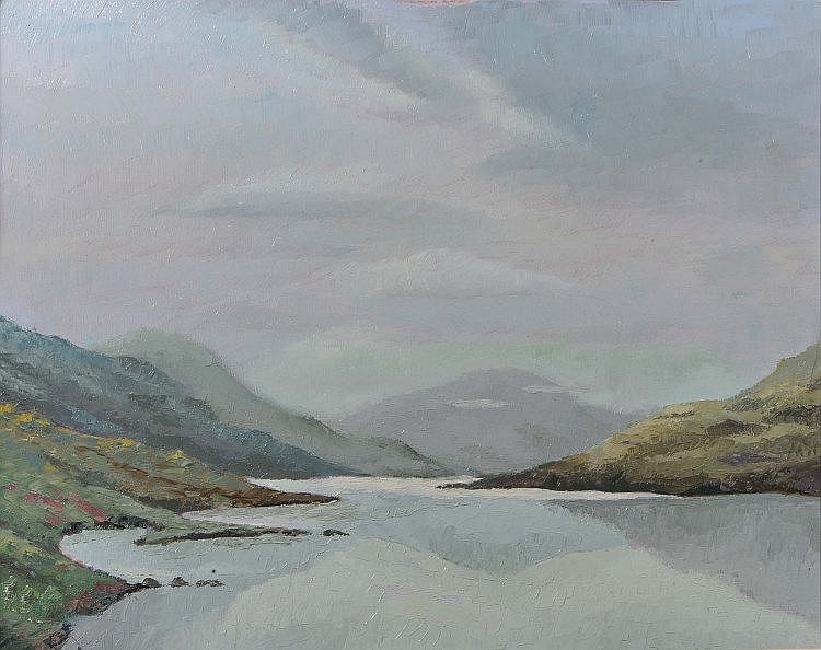 ROBERT CURRIE LOCH ASSYNT- oil on board, signed