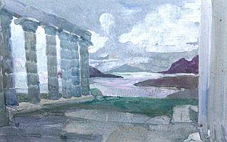 HILDA MAY GORDON (1874-1972) Sunium, watercolour,