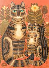 Sheila Flinn (British, 20th Century) Cat and kitt