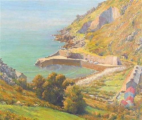 DENYS LAW (1907-1981) 'Lamorna Cove', oil on canvas, signed, original label verso, 27.5in. x 31.5in. (see illustration)