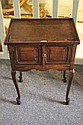 AN ANTIQUE OAK TRAY TOP BEDSIDE TABLE with