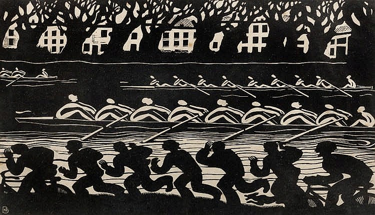 Margorie Biscomb (fl.1930-1950)  An Impression of the Head of the River Race