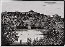 CHARLES WILLIAM TAYLOR (1878-1960) A lakeside with grand co