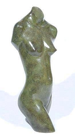 [ Subject to Droit de Suite - Artist's Resale Rights ] GEOFFREY DASHWOOD (b. 1947) 'Torso' 5/12, green patinated bronze, 31.5in high