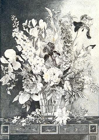 JOHN MAYNE, a vase of early summer flowers, pen and ink, framed labelled verso, 43in. x 31in. (see illustration)