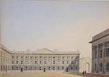 ATTRIBUTED TO GEORGE PYNE (1800-1884) Peckwater Quad, Christ Church, watercolour