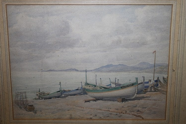 William Ongley Miller (British, 19th/20th Century)  Boats on the beach, signed and dated 1939, watercolour, 27.5cm x