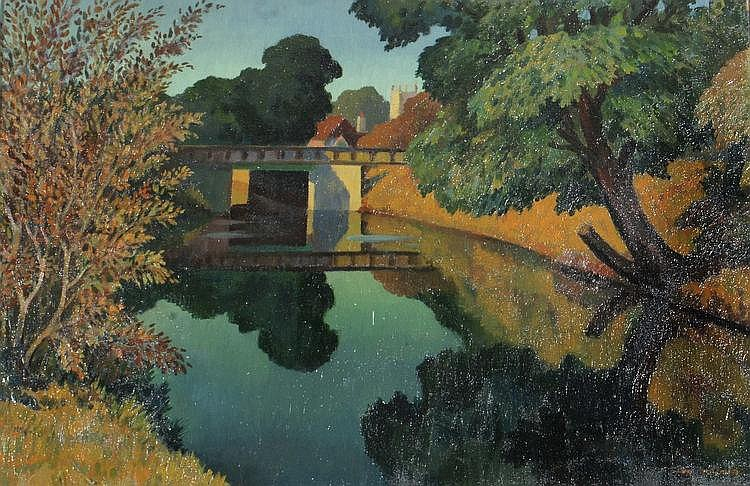 IAIN MACNAB (1890-1967) Canal bridge with distant