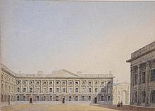 ATTRIBUTED TO GEORGE PYNE (1800-1884) Peckwater Quad, Christ Church, wate