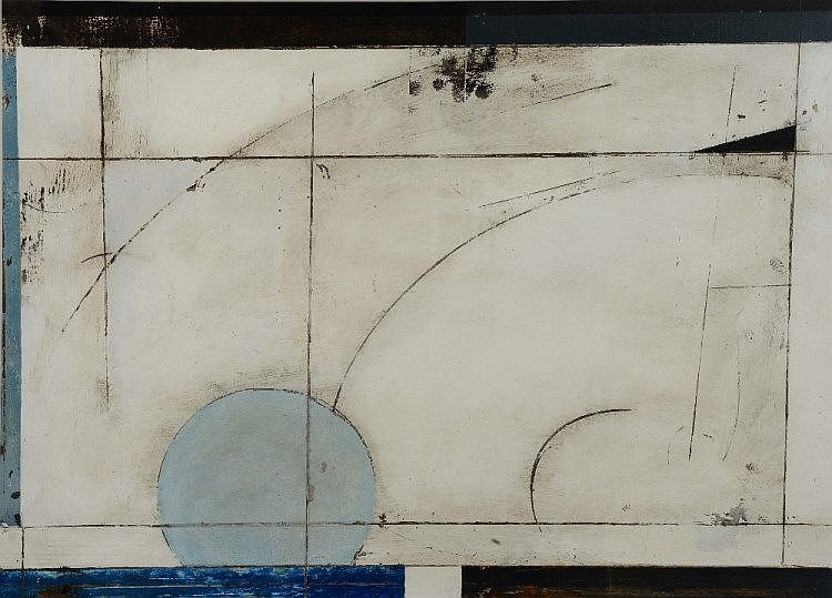 RICHARD ADAMS (20TH CENTURY) 'Arc', signed and indistinctly dated, mixed media, 53 x 72cm