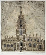 VALERIE THORNTON (1931-1991) 'St Mary's, Oxford', etching in colours, pencil signed, titled, da