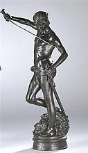 Antonin MERCIE (1845-1916) David et la tête de Goliath. Bronze à patine noi