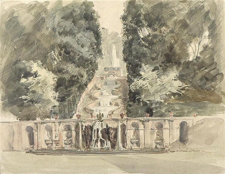 Ecole francaise du xixe si cle cascade dans un jardin aquare for Jardin xviiie siecle