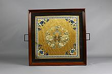 Vintage Chinese Wedding Textile in Wood Tray