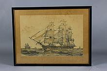 USS Frigate Constitution Etching of Ship By Walker