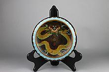 Chinese Cloisonne Black Ground Dragon Bowl
