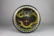 Chinese 19th c. Cloisonne Black Ground Dragon Bowl