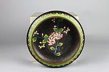 Vintage Chinese Cloisonne Black Ground Floral Bowl