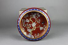 Vintage Chinese Cloisonne Red Ground Prunus Bowl