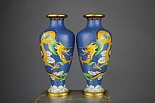 Pr.of Japanese Cloisonne Meiji Period Dragon Vases