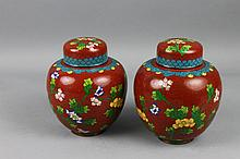 Pr. Chinese Cloisonne Red Ground Ginger Jars