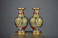 Fine Quality Chinese Cloisonne Mask Design Vases