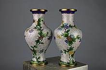 Pair of Chinese Qing Cloisonne Vases