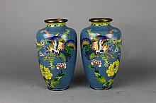 ]Pair of Chinese Qing Dynasty Cloisonne Vases