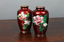 Pair Japanese Pigeon-Blood Cloisonne Silver Vases
