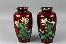 Pr.of Japanese Pigeon-Blood Cloisonne Silver Vases