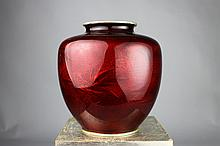 Japanese Cloisonne Pigeon Blood Bass-Taille Vase