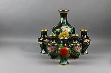 Six Black Ground Chinese Cloisonne Vases