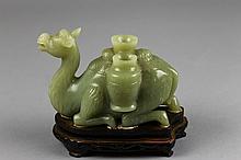 Chinese Jade Camel on Wood Base