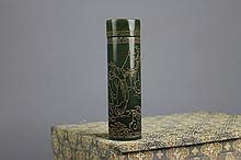 Chinese Cylindrical Jade Covered Tube