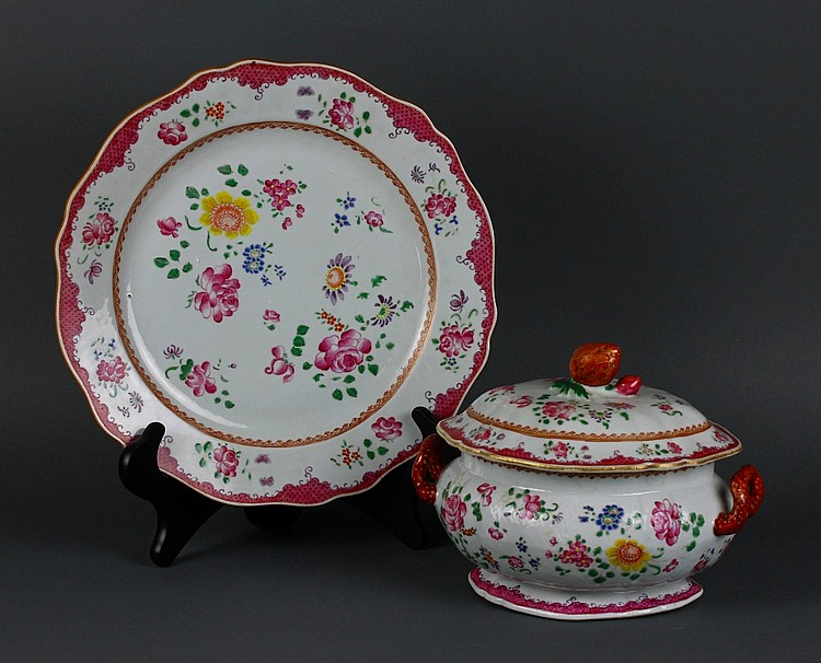 Chinese 18th c. Famille Rose Melon Shaped Tureen