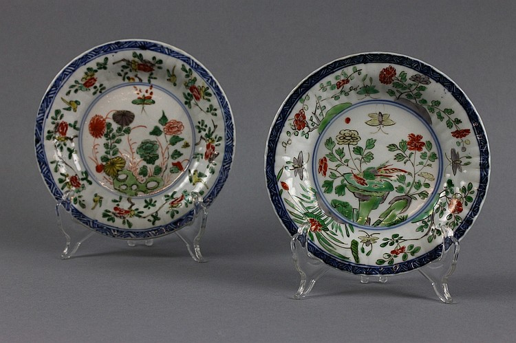 Pair of Chinese Kangxi Marked Famille Verte Dishes