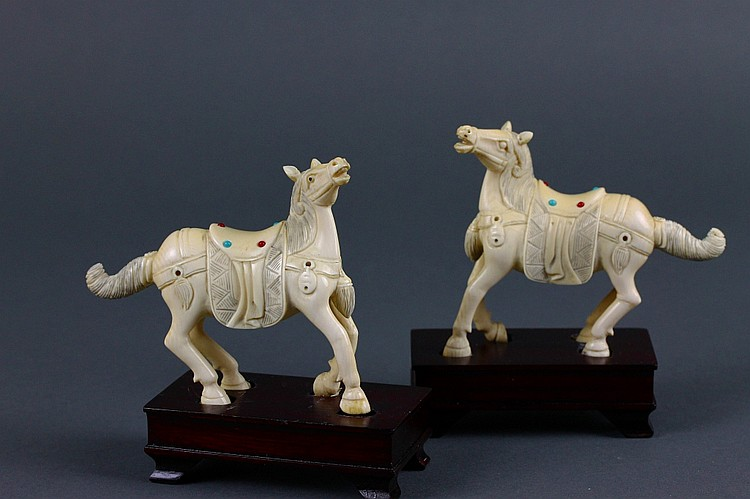 Pair of Chinese Carved Ivory Horses on Wood Stands