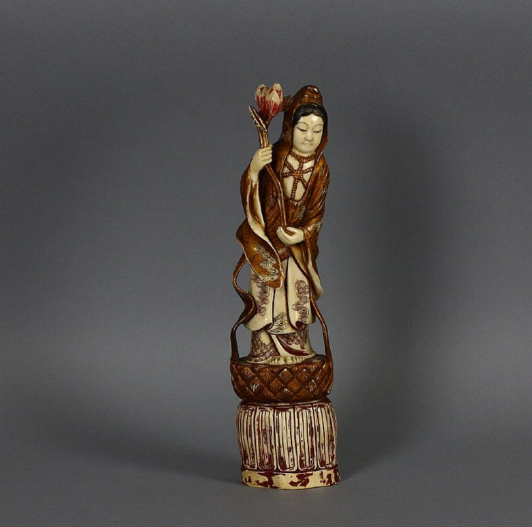 Superb signed Chinese Carved Ivory Guanyin Figure