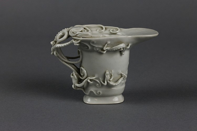 Chinese 18thc. Blanc de Chine Dragon Libation Cup
