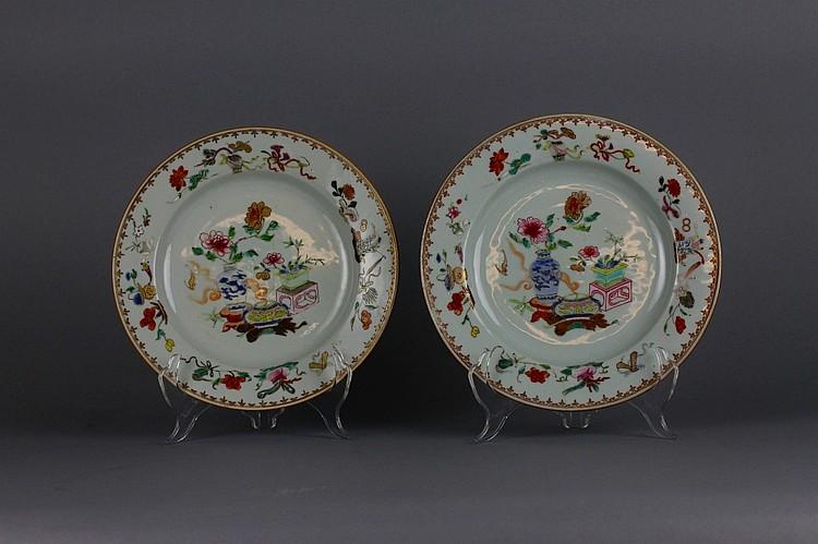 Pr, 18thc Chinese Export Taste Famille Rose Plates