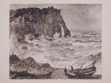 Claude Monet :Falaise d'Etretat, Mer Agitee (Cliff of Etretat, Rough Sea)