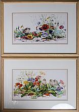 (2) MARILYN SIMANDLE PRINTS BIRDS & FLOWERS FRAMED