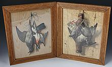 (2) ANTIQUE DEAD GAME TROMPE L'OEIL 3D RELIEFS