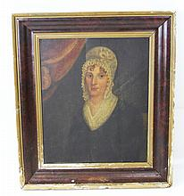 AMERICAN SCHOOL PORTRAIT OF LADY WITH BONNET