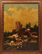 SPANISH PASTORAL LANDSCAPE OIL ON CANVAS RESTORED