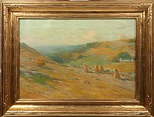 BRUCE CRANE TONAL LANDSCAPE HAYSTACKS & MOUNTAINS