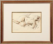 RAPHAEL SOYER ORIGINAL DRAWING RECLINING NUDE
